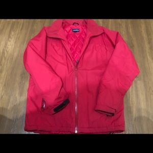 Lands End Jacket Red Zip up Sz M